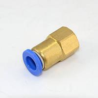 """Соединение цанговое для полиуретановых шлангов PU/PR (прямое, шланг - внутр. резьба) 10ммX1/4"""" AIRKRAFT SPCF10-02"""