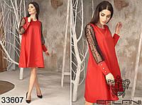 Платье свободного кроя с рукавами из сетки с флоковым напылением и широкими манжетами с 42 по 48 размер, фото 1
