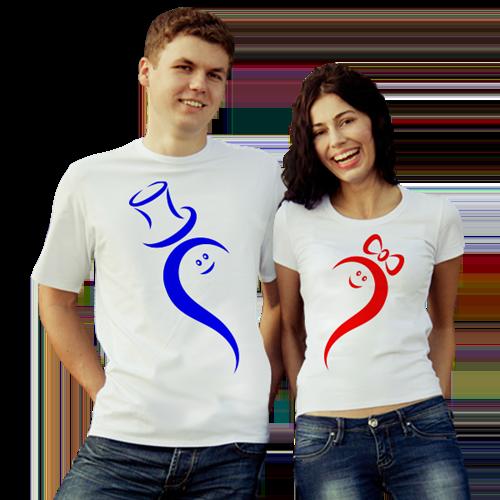 """Парные футболки """"Сердце в шляпе"""" белые"""