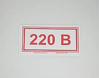 Наклейка 220В 100*50 мм (велика)