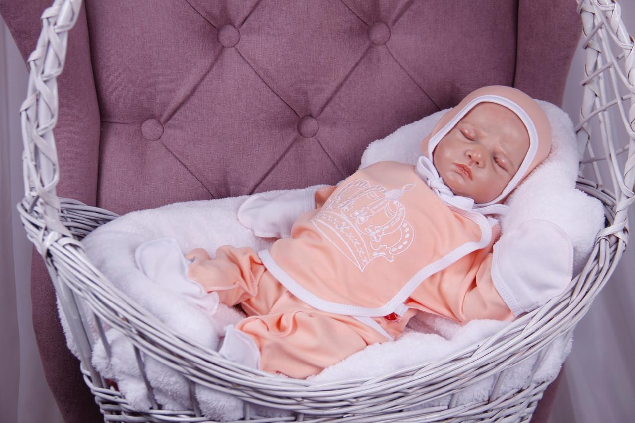 """Набор для новорожденных """"Queen"""", персиковый, 3-х предметный"""