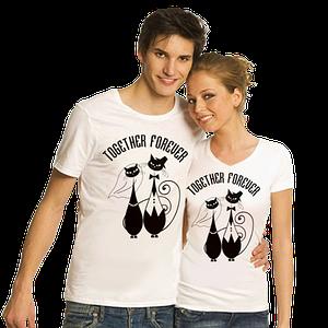"Парные футболки ""Together forever"" белые"