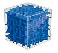 Прозорий куб-головоломка з кулькою і лабіринтами 8х8х8см синій всередині SKU0000201, фото 1