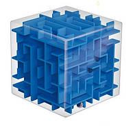 Прозрачный куб-головоломка с шариком и лабиринтами 8x8x8см синий внутри SKU0000201, фото 1