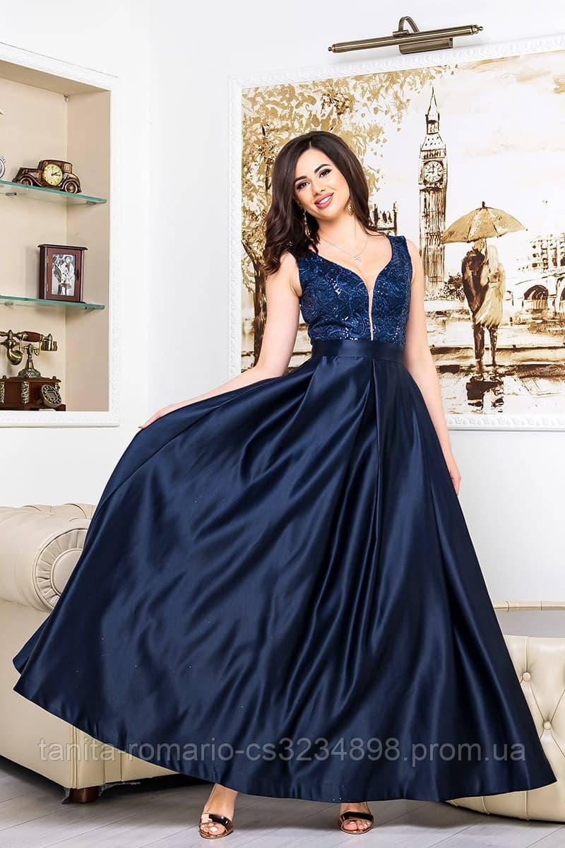 Выпускное платье синее ,атласное расшито бисером