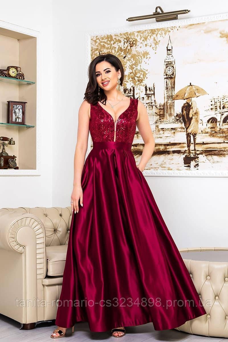 Выпускное платье бордовое,атласное расшито бисером