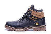 Мужские зимние кожаные ботинки Timberland Legend Blue (реплика), фото 1