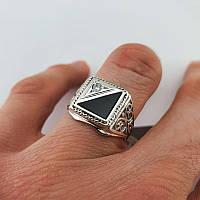 Печатка серебряная 925 пробы. Кольцо серебряное мужское с камнем. Перстень