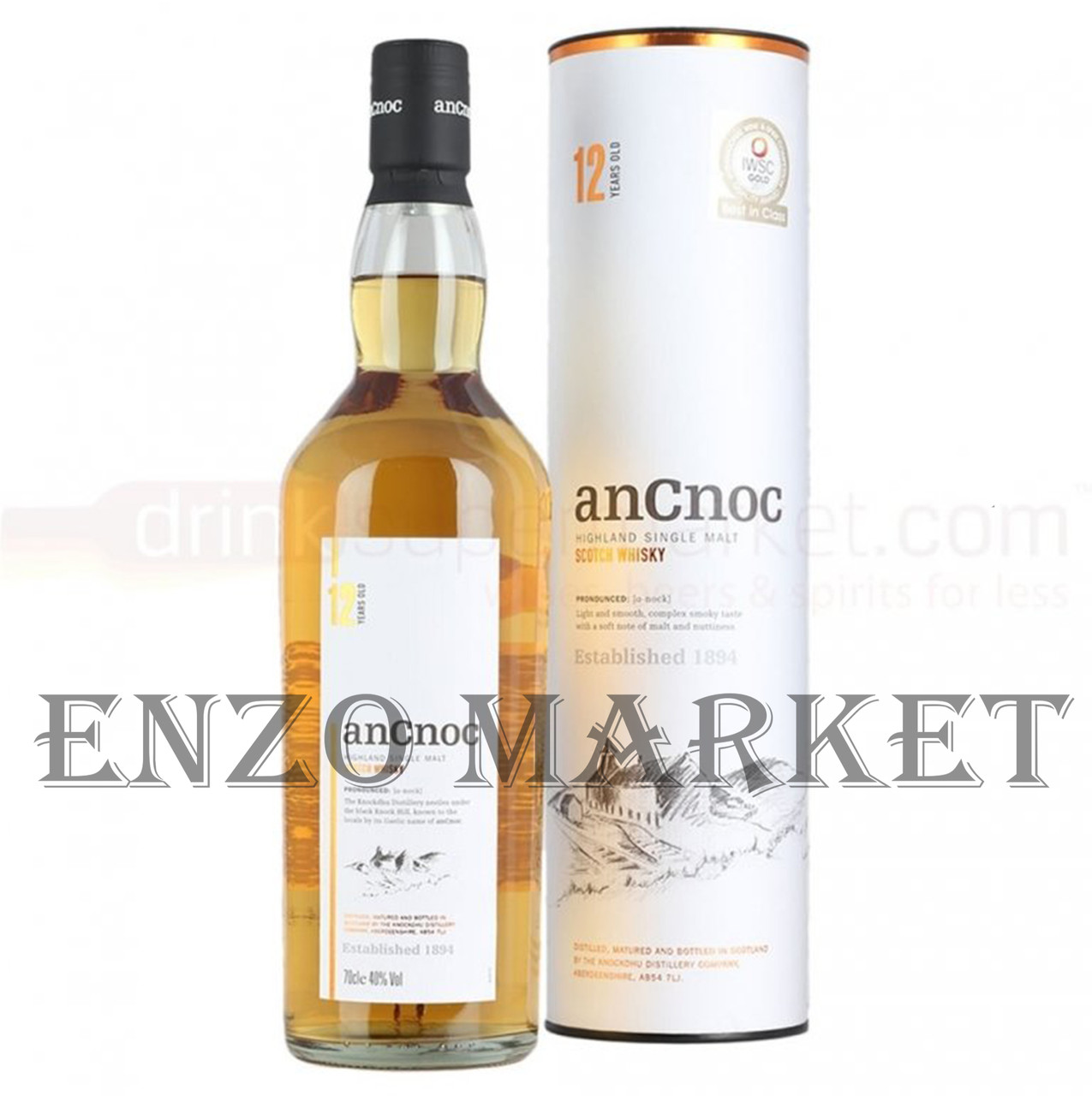 Виски AnCnoc 12 y.o. (Ан Кнок 12 лет) 40%, 0,7 литра