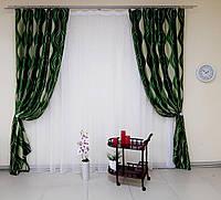 Пара готовых штор, ткань блэкаут, зеленые, код-213