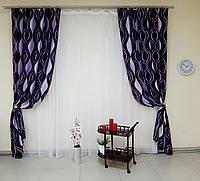 Пара готовых штор, ткань блэкаут, фиолетовые, код-213