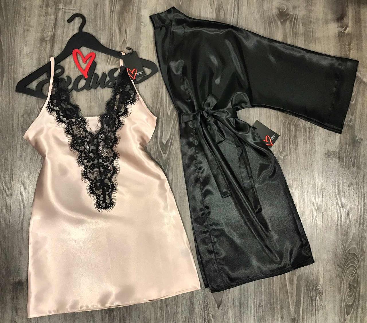 Атласный халат и пеньюар. женская одежда для сна и отдыха