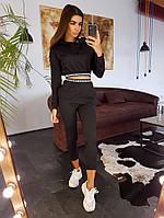 Укороченный худи и джоггеры черного цвета с отделкой лентой, фото 1