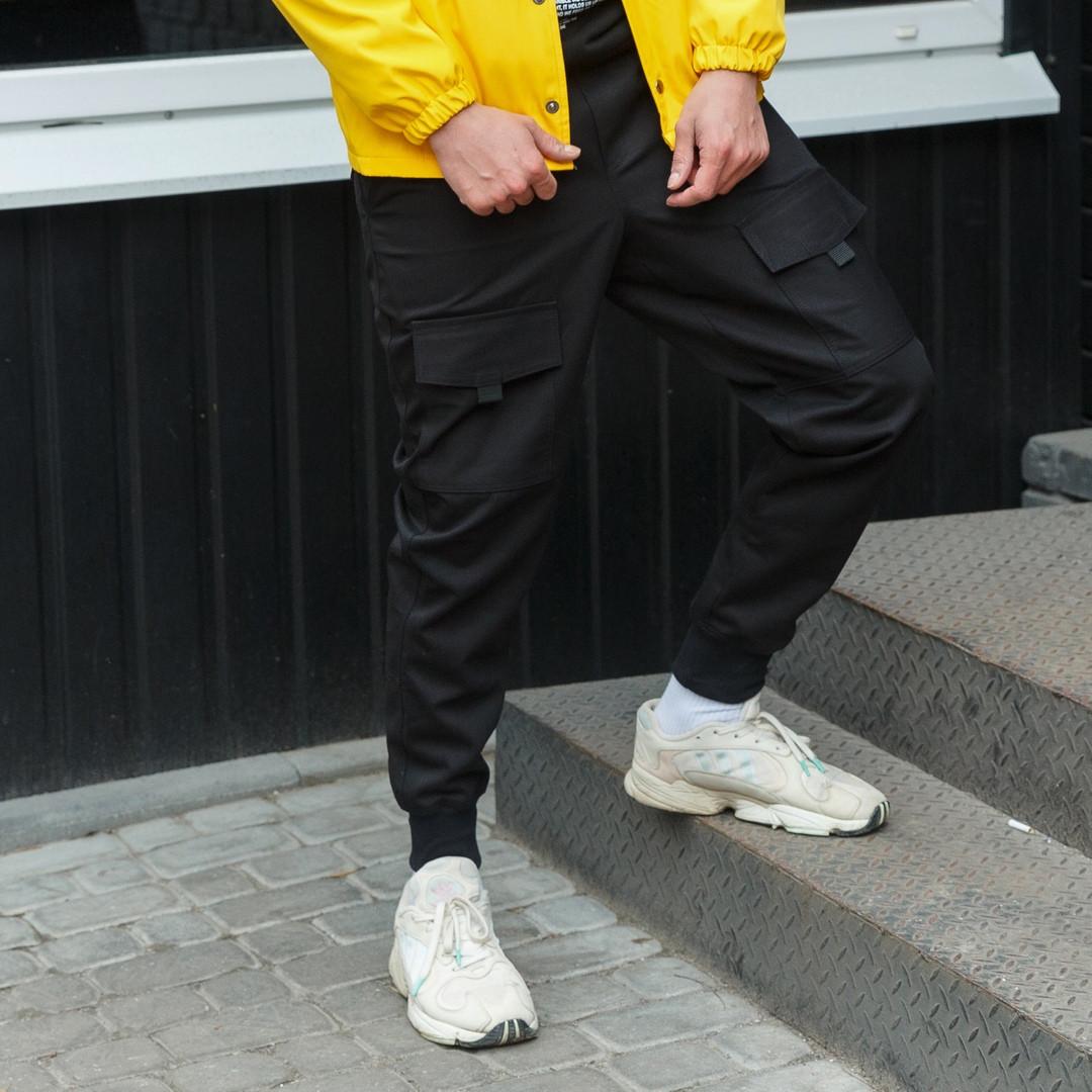 Карго штаны мужские черные