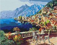 Алмазная живопись Вид с балкона, размер 50*40 см, забивка полная, стразы круглые