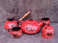 Сервіз чайно-кавовий Великий на 2 особи декор Серце червоний
