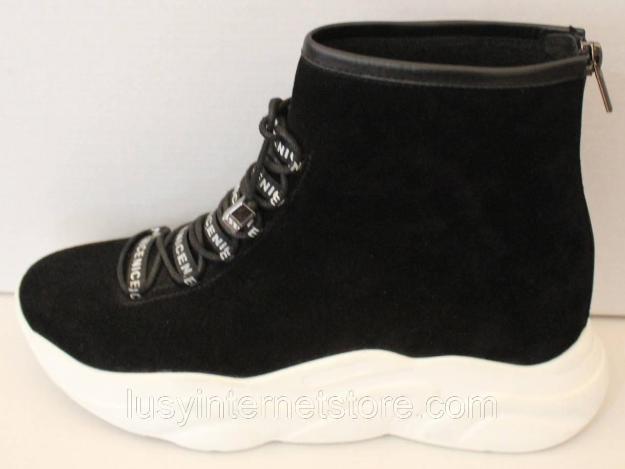 Ботинки женские черные демисезонные замшевые на платформе от производителя модель ЛИ5007