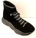 Ботинки женские черные демисезонные замшевые на платформе от производителя модель ЛИ5007, фото 6
