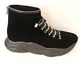 Ботинки женские черные демисезонные замшевые на платформе от производителя модель ЛИ5007, фото 5