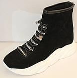 Ботинки женские черные демисезонные замшевые на платформе от производителя модель ЛИ5007, фото 2