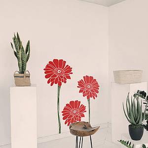 Трафарет цветов на стену для гостиной