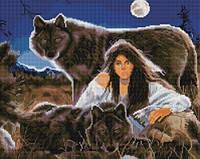 Алмазная живопись Волки с девушкой, размер 50*40 см, забивка полная, стразы круглые
