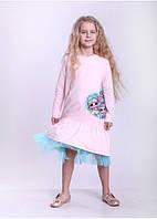 Платье для девочки трикотажное длинный рукав
