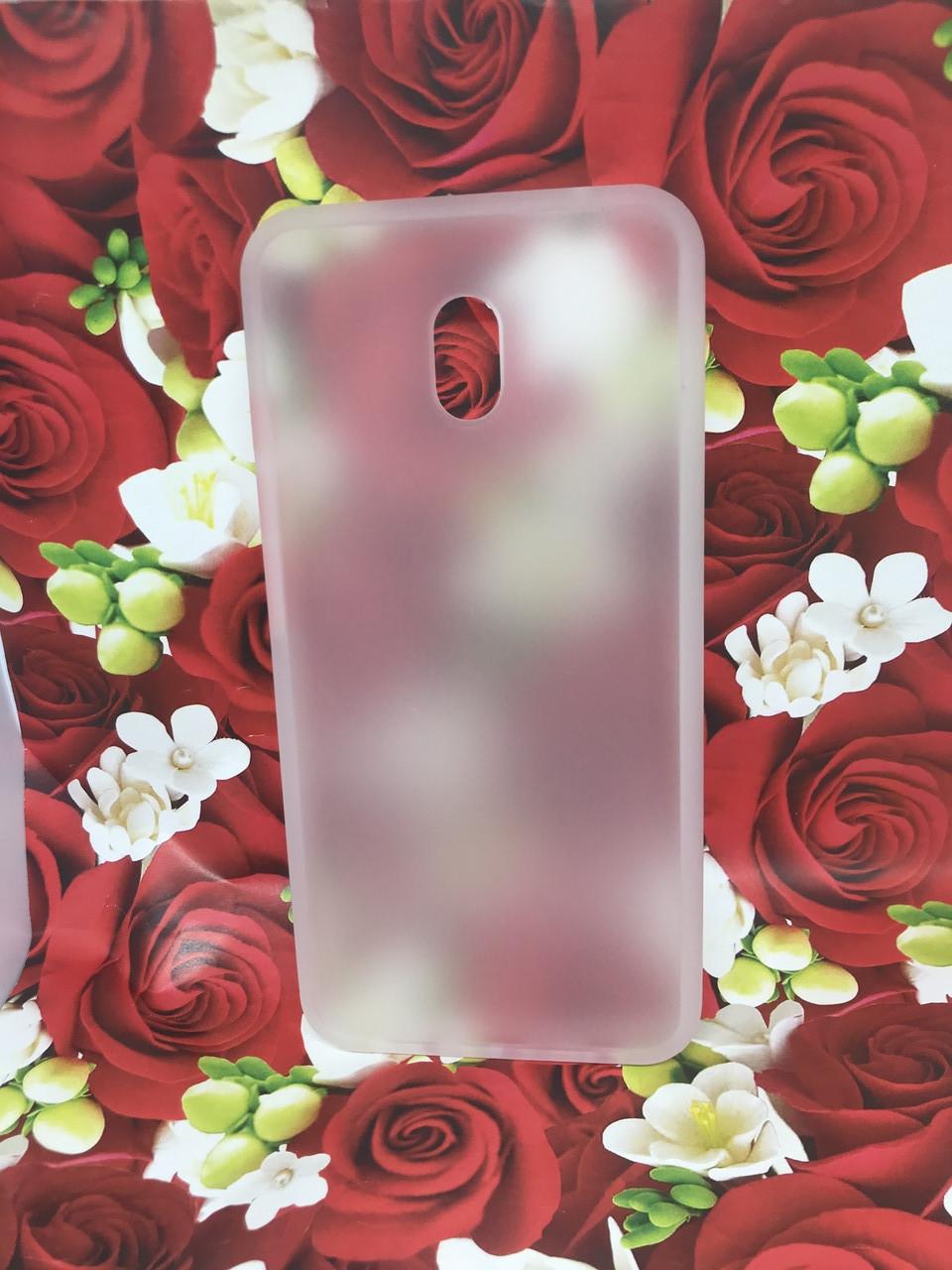 Чехол Xiaomi Redmi 8A противоударный бампер накладка цветная окантовка белый красные кнопки