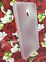 Чехол Xiaomi Redmi 8A противоударный бампер накладка цветная окантовка белый красные кнопки, фото 2