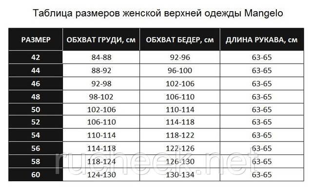 Таблица размеров верхняя одежда куртки Mangelo