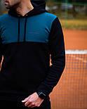 Чоловічий спортивний теплий костюм Baterson Leader теплий з капюшоном на флісі чорний. Живе фото, фото 2