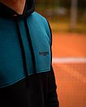 Чоловічий спортивний теплий костюм Baterson Leader теплий з капюшоном на флісі чорний. Живе фото, фото 4