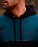 Чоловічий спортивний теплий костюм Baterson Leader теплий з капюшоном на флісі чорний. Живе фото, фото 6