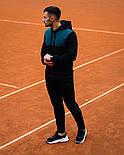 Чоловічий спортивний теплий костюм Baterson Leader теплий з капюшоном на флісі чорний. Живе фото, фото 9