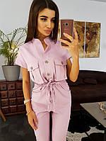 Розовый комбинезон в стиле милитари с большими карманами, фото 1