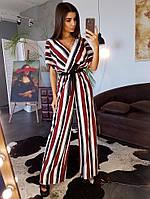 Комбинезон в полоску в стиле кимоно приталенный поясом