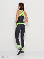 Серо-салатовый спортивный костюм для фитнеса