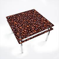 Стол обеденный на хромированных ножках Квадратный с проходящей полкой Coffee aroma