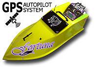 Кораблик для завоза прикормки Фортуна на 15000 мАч с GPS-автопилотом Оранжевый