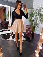 Комплект: Вельветовая юбка мини на кнопках и черный топ, фото 1