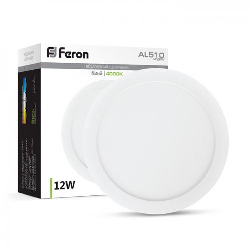 Светодиодный светильник Feron AL510 12W круг белый 720Lm 4000K 171*13.5mm OL