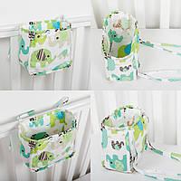 Детский карман - органайзер 17*19 тканевый на деткую кроватку подвесной для хранения игрушек и книг