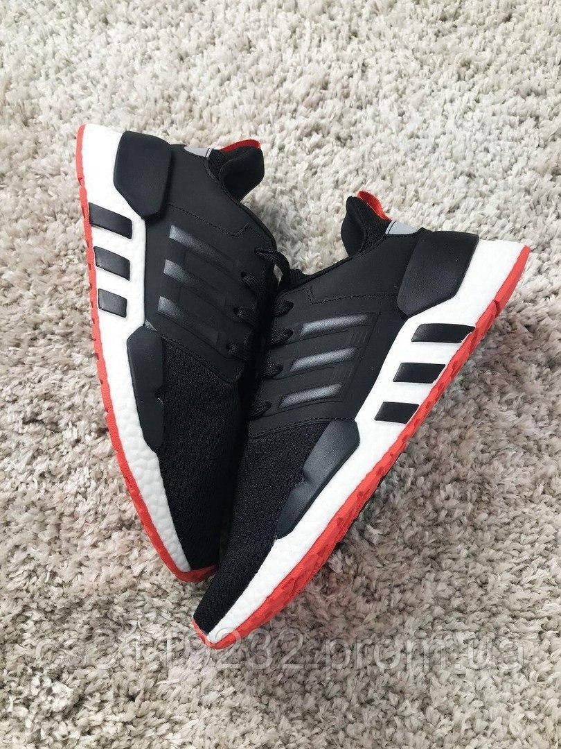 Мужские кроссовки Adidas EQT Black White (черно-белые)