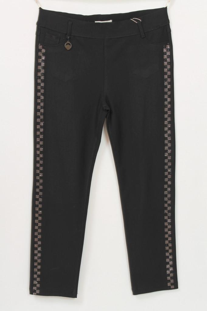 Турецкие женские черные джинсы с лампасами из страз, размеры 50-56