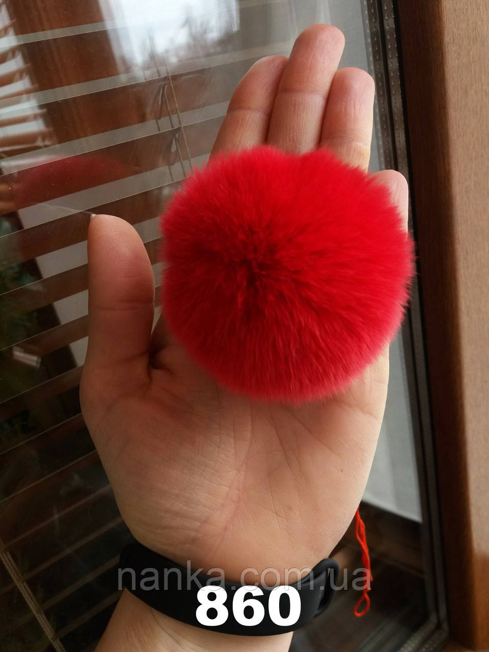 Меховой помпон Кролик РЕКС, Красный, 6/7 см, 860