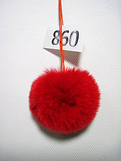 Меховой помпон Кролик РЕКС, Красный, 6/7 см, 860, фото 3