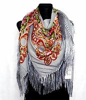 Народный платок Анна, 140х140 см, серый, фото 1