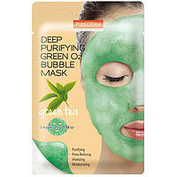 Кислородная тканевая маска c экстрактом зеленого чая Purederm Deep Purifying Green O2 Bubble Mask Green Tea
