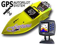Прикормочный кораблик Фортуна с эхолотом Lucky 918 и GPS-автопилот Желтый
