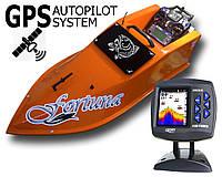 Прикормочный кораблик Фортуна с эхолотом Lucky 918 и GPS-автопилот Оранжевый
